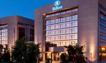 5 Star Hilton Hotels Madrid Hotel Front Evening Night